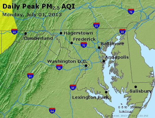 Peak Particles PM<sub>2.5</sub> (24-hour) - http://files.airnowtech.org/airnow/2013/20130701/peak_pm25_maryland.jpg