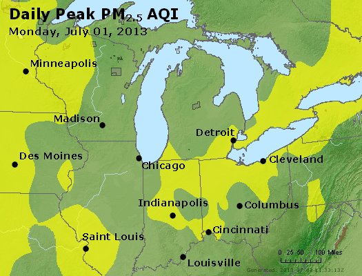 Peak Particles PM<sub>2.5</sub> (24-hour) - http://files.airnowtech.org/airnow/2013/20130701/peak_pm25_mi_in_oh.jpg