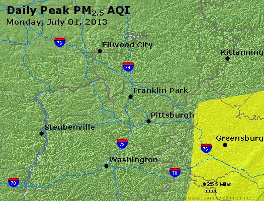 Peak Particles PM<sub>2.5</sub> (24-hour) - http://files.airnowtech.org/airnow/2013/20130701/peak_pm25_pittsburgh_pa.jpg