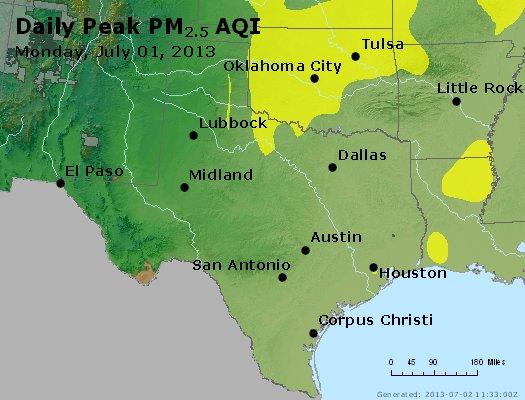 Peak Particles PM<sub>2.5</sub> (24-hour) - http://files.airnowtech.org/airnow/2013/20130701/peak_pm25_tx_ok.jpg