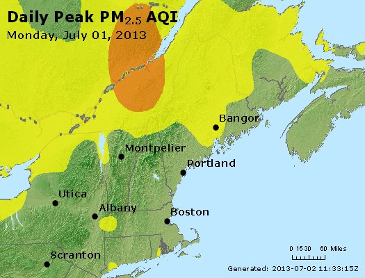 Peak Particles PM<sub>2.5</sub> (24-hour) - http://files.airnowtech.org/airnow/2013/20130701/peak_pm25_vt_nh_ma_ct_ri_me.jpg