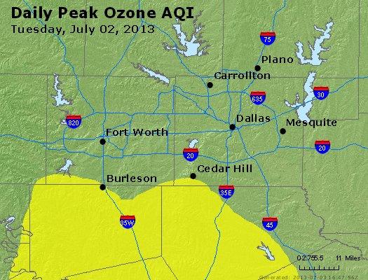 Peak Ozone (8-hour) - http://files.airnowtech.org/airnow/2013/20130702/peak_o3_dallas_tx.jpg