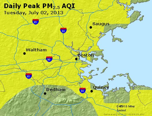 Peak Particles PM<sub>2.5</sub> (24-hour) - http://files.airnowtech.org/airnow/2013/20130702/peak_pm25_boston_ma.jpg