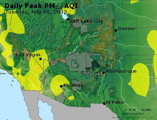 Peak Particles PM<sub>2.5</sub> (24-hour) - http://files.airnowtech.org/airnow/2013/20130702/peak_pm25_co_ut_az_nm.jpg