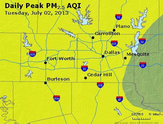 Peak Particles PM<sub>2.5</sub> (24-hour) - http://files.airnowtech.org/airnow/2013/20130702/peak_pm25_dallas_tx.jpg