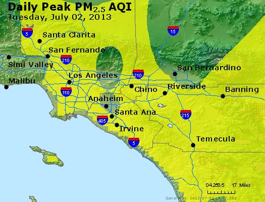 Peak Particles PM<sub>2.5</sub> (24-hour) - http://files.airnowtech.org/airnow/2013/20130702/peak_pm25_losangeles_ca.jpg