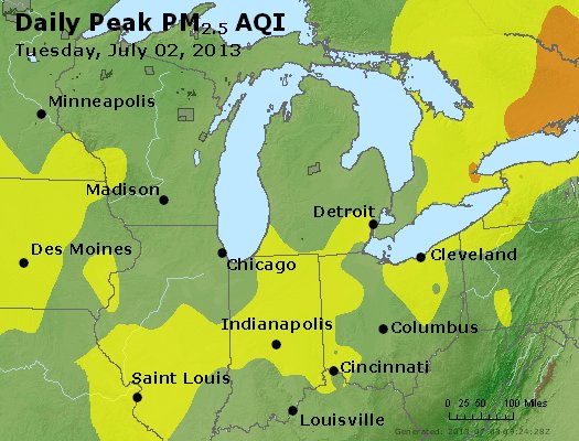 Peak Particles PM<sub>2.5</sub> (24-hour) - http://files.airnowtech.org/airnow/2013/20130702/peak_pm25_mi_in_oh.jpg