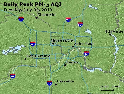 Peak Particles PM<sub>2.5</sub> (24-hour) - http://files.airnowtech.org/airnow/2013/20130702/peak_pm25_minneapolis_mn.jpg