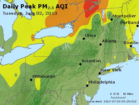 Peak Particles PM<sub>2.5</sub> (24-hour) - http://files.airnowtech.org/airnow/2013/20130702/peak_pm25_ny_pa_nj.jpg