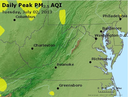 Peak Particles PM<sub>2.5</sub> (24-hour) - http://files.airnowtech.org/airnow/2013/20130702/peak_pm25_va_wv_md_de_dc.jpg