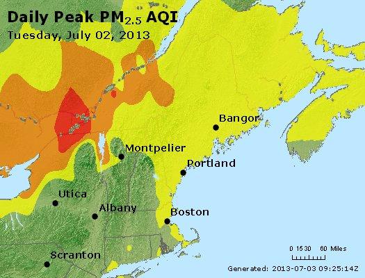 Peak Particles PM<sub>2.5</sub> (24-hour) - http://files.airnowtech.org/airnow/2013/20130702/peak_pm25_vt_nh_ma_ct_ri_me.jpg