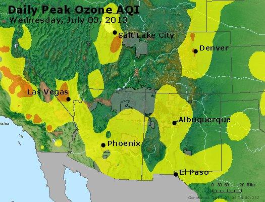 Peak Ozone (8-hour) - http://files.airnowtech.org/airnow/2013/20130703/peak_o3_co_ut_az_nm.jpg
