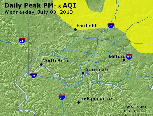 Peak Particles PM<sub>2.5</sub> (24-hour) - http://files.airnowtech.org/airnow/2013/20130703/peak_pm25_cincinnati_oh.jpg