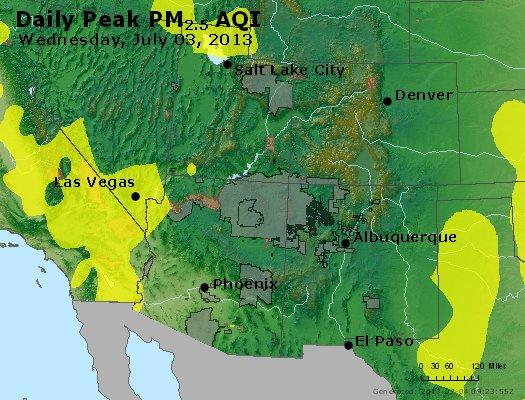 Peak Particles PM<sub>2.5</sub> (24-hour) - http://files.airnowtech.org/airnow/2013/20130703/peak_pm25_co_ut_az_nm.jpg