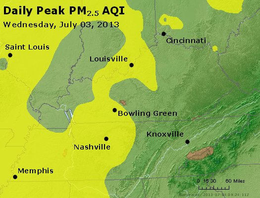 Peak Particles PM<sub>2.5</sub> (24-hour) - http://files.airnowtech.org/airnow/2013/20130703/peak_pm25_ky_tn.jpg