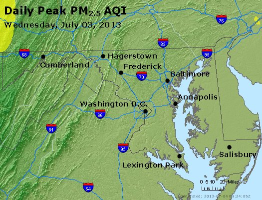Peak Particles PM<sub>2.5</sub> (24-hour) - http://files.airnowtech.org/airnow/2013/20130703/peak_pm25_maryland.jpg