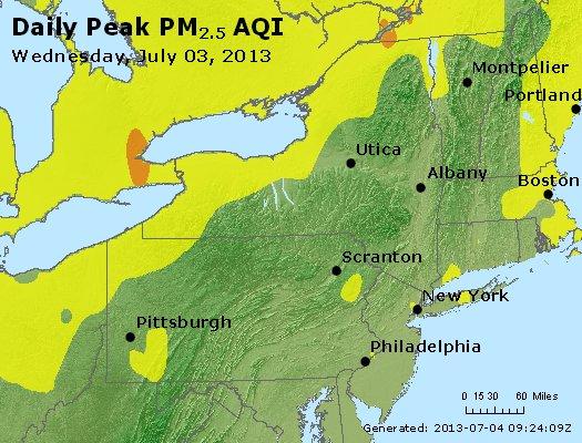 Peak Particles PM<sub>2.5</sub> (24-hour) - http://files.airnowtech.org/airnow/2013/20130703/peak_pm25_ny_pa_nj.jpg