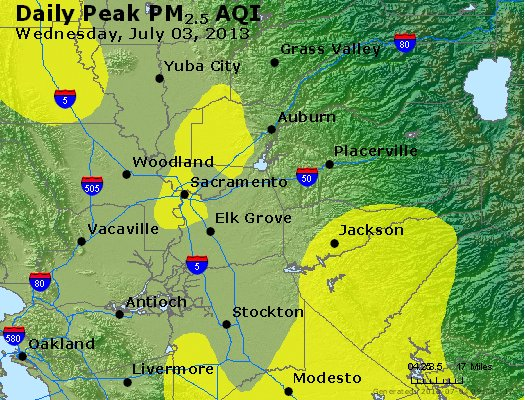 Peak Particles PM<sub>2.5</sub> (24-hour) - http://files.airnowtech.org/airnow/2013/20130703/peak_pm25_sacramento_ca.jpg