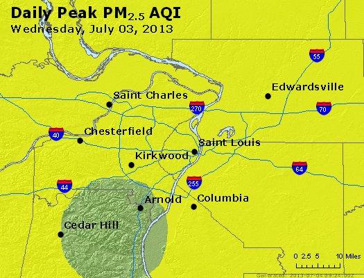 Peak Particles PM<sub>2.5</sub> (24-hour) - http://files.airnowtech.org/airnow/2013/20130703/peak_pm25_stlouis_mo.jpg