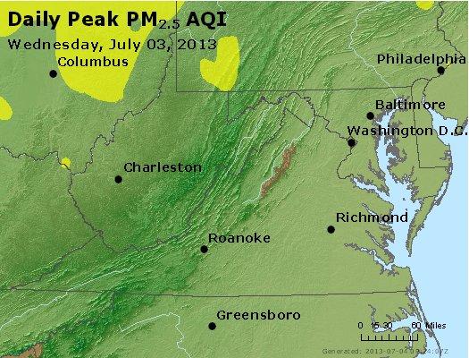 Peak Particles PM<sub>2.5</sub> (24-hour) - http://files.airnowtech.org/airnow/2013/20130703/peak_pm25_va_wv_md_de_dc.jpg