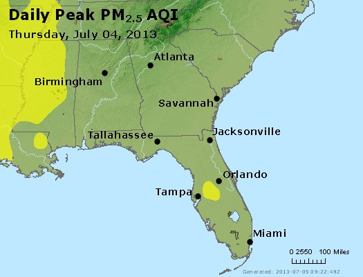 Peak Particles PM<sub>2.5</sub> (24-hour) - http://files.airnowtech.org/airnow/2013/20130704/peak_pm25_al_ga_fl.jpg