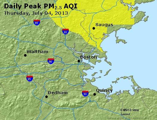 Peak Particles PM<sub>2.5</sub> (24-hour) - http://files.airnowtech.org/airnow/2013/20130704/peak_pm25_boston_ma.jpg