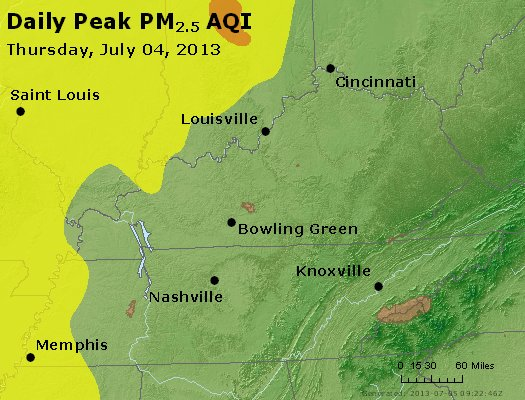 Peak Particles PM<sub>2.5</sub> (24-hour) - http://files.airnowtech.org/airnow/2013/20130704/peak_pm25_ky_tn.jpg