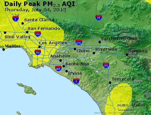Peak Particles PM<sub>2.5</sub> (24-hour) - http://files.airnowtech.org/airnow/2013/20130704/peak_pm25_losangeles_ca.jpg