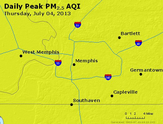 Peak Particles PM<sub>2.5</sub> (24-hour) - http://files.airnowtech.org/airnow/2013/20130704/peak_pm25_memphis_tn.jpg