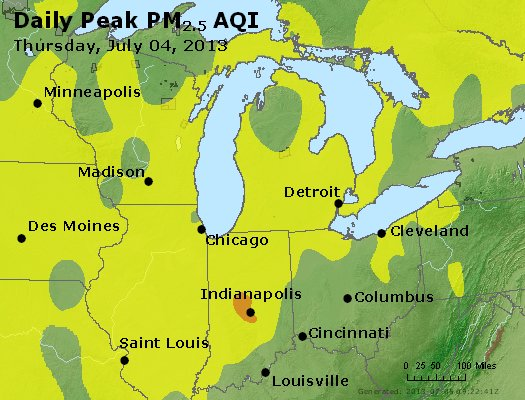 Peak Particles PM<sub>2.5</sub> (24-hour) - http://files.airnowtech.org/airnow/2013/20130704/peak_pm25_mi_in_oh.jpg