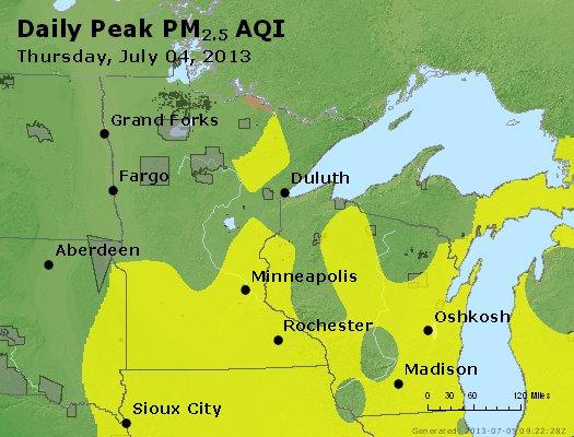 Peak Particles PM<sub>2.5</sub> (24-hour) - http://files.airnowtech.org/airnow/2013/20130704/peak_pm25_mn_wi.jpg
