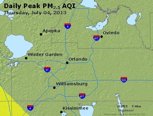 Peak Particles PM<sub>2.5</sub> (24-hour) - http://files.airnowtech.org/airnow/2013/20130704/peak_pm25_orlando_fl.jpg