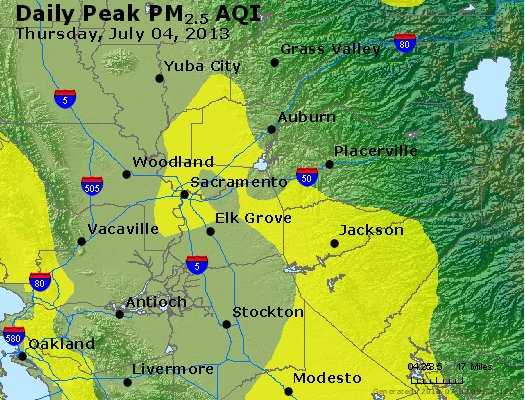 Peak Particles PM<sub>2.5</sub> (24-hour) - http://files.airnowtech.org/airnow/2013/20130704/peak_pm25_sacramento_ca.jpg