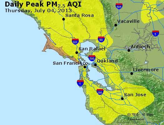 Peak Particles PM<sub>2.5</sub> (24-hour) - http://files.airnowtech.org/airnow/2013/20130704/peak_pm25_sanfrancisco_ca.jpg