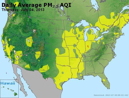 Peak Particles PM<sub>2.5</sub> (24-hour) - http://files.airnowtech.org/airnow/2013/20130704/peak_pm25_usa.jpg