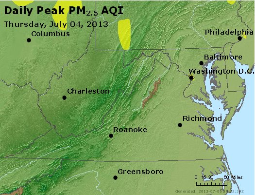 Peak Particles PM<sub>2.5</sub> (24-hour) - http://files.airnowtech.org/airnow/2013/20130704/peak_pm25_va_wv_md_de_dc.jpg