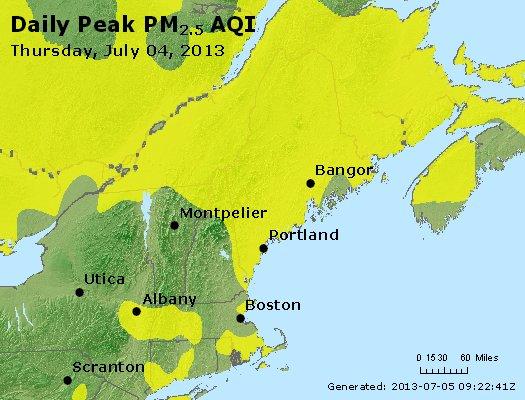 Peak Particles PM<sub>2.5</sub> (24-hour) - http://files.airnowtech.org/airnow/2013/20130704/peak_pm25_vt_nh_ma_ct_ri_me.jpg