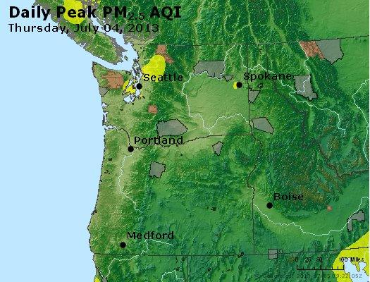 Peak Particles PM<sub>2.5</sub> (24-hour) - http://files.airnowtech.org/airnow/2013/20130704/peak_pm25_wa_or.jpg
