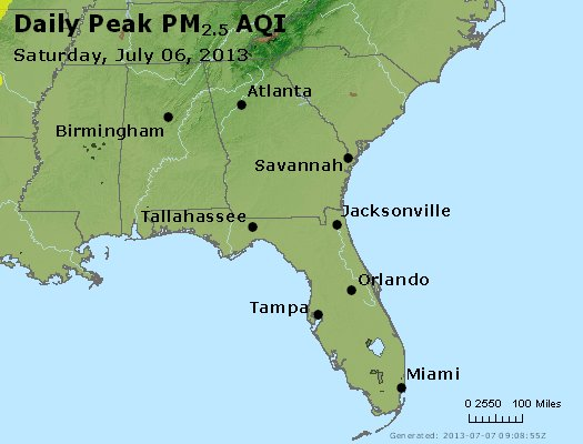 Peak Particles PM<sub>2.5</sub> (24-hour) - http://files.airnowtech.org/airnow/2013/20130706/peak_pm25_al_ga_fl.jpg