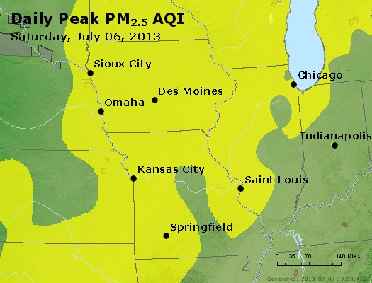 Peak Particles PM<sub>2.5</sub> (24-hour) - http://files.airnowtech.org/airnow/2013/20130706/peak_pm25_ia_il_mo.jpg