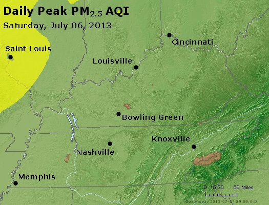 Peak Particles PM<sub>2.5</sub> (24-hour) - http://files.airnowtech.org/airnow/2013/20130706/peak_pm25_ky_tn.jpg