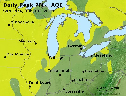 Peak Particles PM<sub>2.5</sub> (24-hour) - http://files.airnowtech.org/airnow/2013/20130706/peak_pm25_mi_in_oh.jpg