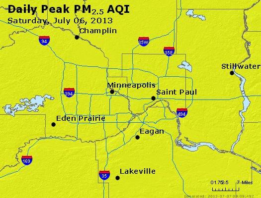 Peak Particles PM<sub>2.5</sub> (24-hour) - http://files.airnowtech.org/airnow/2013/20130706/peak_pm25_minneapolis_mn.jpg
