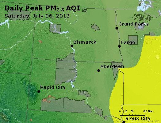 Peak Particles PM<sub>2.5</sub> (24-hour) - http://files.airnowtech.org/airnow/2013/20130706/peak_pm25_nd_sd.jpg