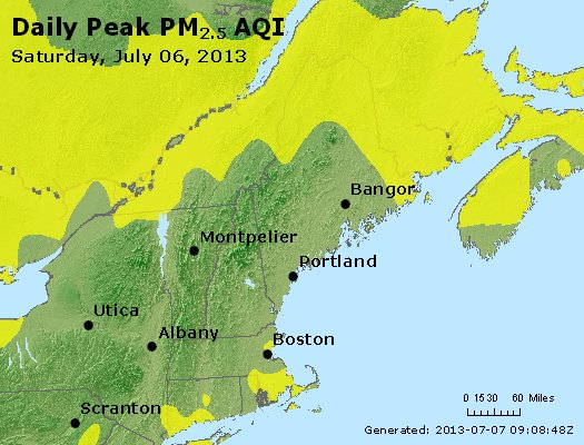 Peak Particles PM<sub>2.5</sub> (24-hour) - http://files.airnowtech.org/airnow/2013/20130706/peak_pm25_vt_nh_ma_ct_ri_me.jpg