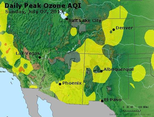 Peak Ozone (8-hour) - http://files.airnowtech.org/airnow/2013/20130707/peak_o3_co_ut_az_nm.jpg