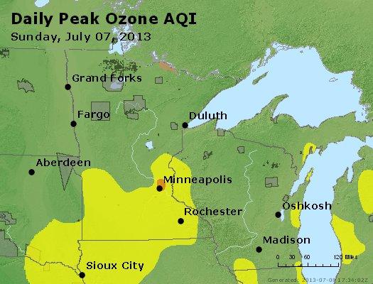 Peak Ozone (8-hour) - http://files.airnowtech.org/airnow/2013/20130707/peak_o3_mn_wi.jpg