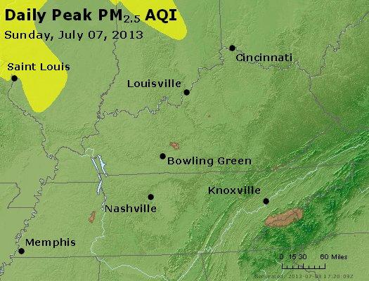 Peak Particles PM<sub>2.5</sub> (24-hour) - http://files.airnowtech.org/airnow/2013/20130707/peak_pm25_ky_tn.jpg