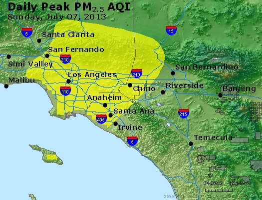 Peak Particles PM<sub>2.5</sub> (24-hour) - http://files.airnowtech.org/airnow/2013/20130707/peak_pm25_losangeles_ca.jpg