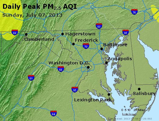 Peak Particles PM<sub>2.5</sub> (24-hour) - http://files.airnowtech.org/airnow/2013/20130707/peak_pm25_maryland.jpg